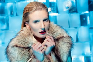An outtake from the series, showing more of the ice black wall behind the model, Nicole Kristin
